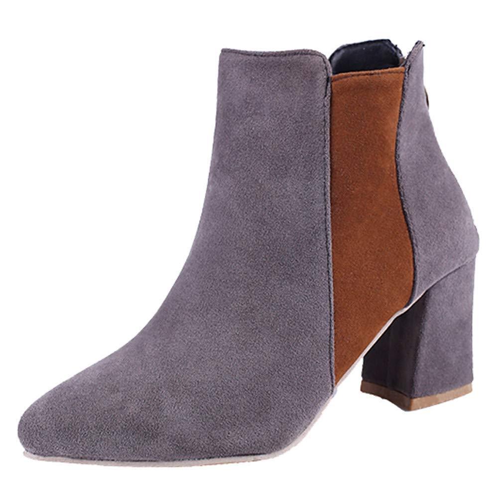 HhGold Stiefel Damen Schuhe Stiefeletten Frauen Schuhe Spitzschuh Wildleder Freizeitschuhe High Heel Schuhe Frauen Mischfarbe Martin Stiefel Reißverschluss Stiefel (Farbe   Grau Größe   41 EU) 3276a5