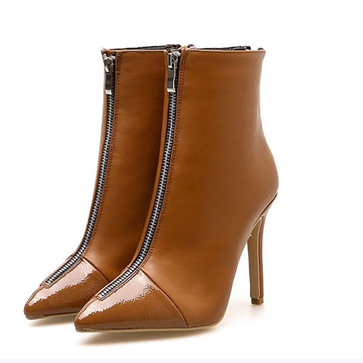LBTSQ-Mode Damenschuhe Kurze Stiefel Mit Hohen 10Cm Dünne Sohle Stiefeletten Wies Kopf Kurzen Schlauch Single - Reißverschluss Ma Dingxue.