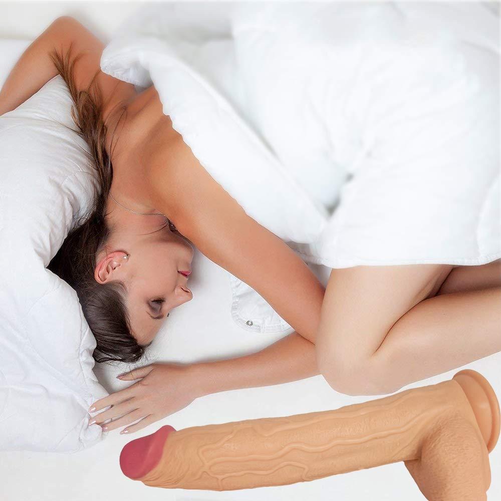 SEXTT Realista consolador G Punto Anal Vaginal Vaginal Vaginal Plug Silicona simulación de pene Longitud 43.5 cm Gran Palo masturbación Femenina Equipo 023a68