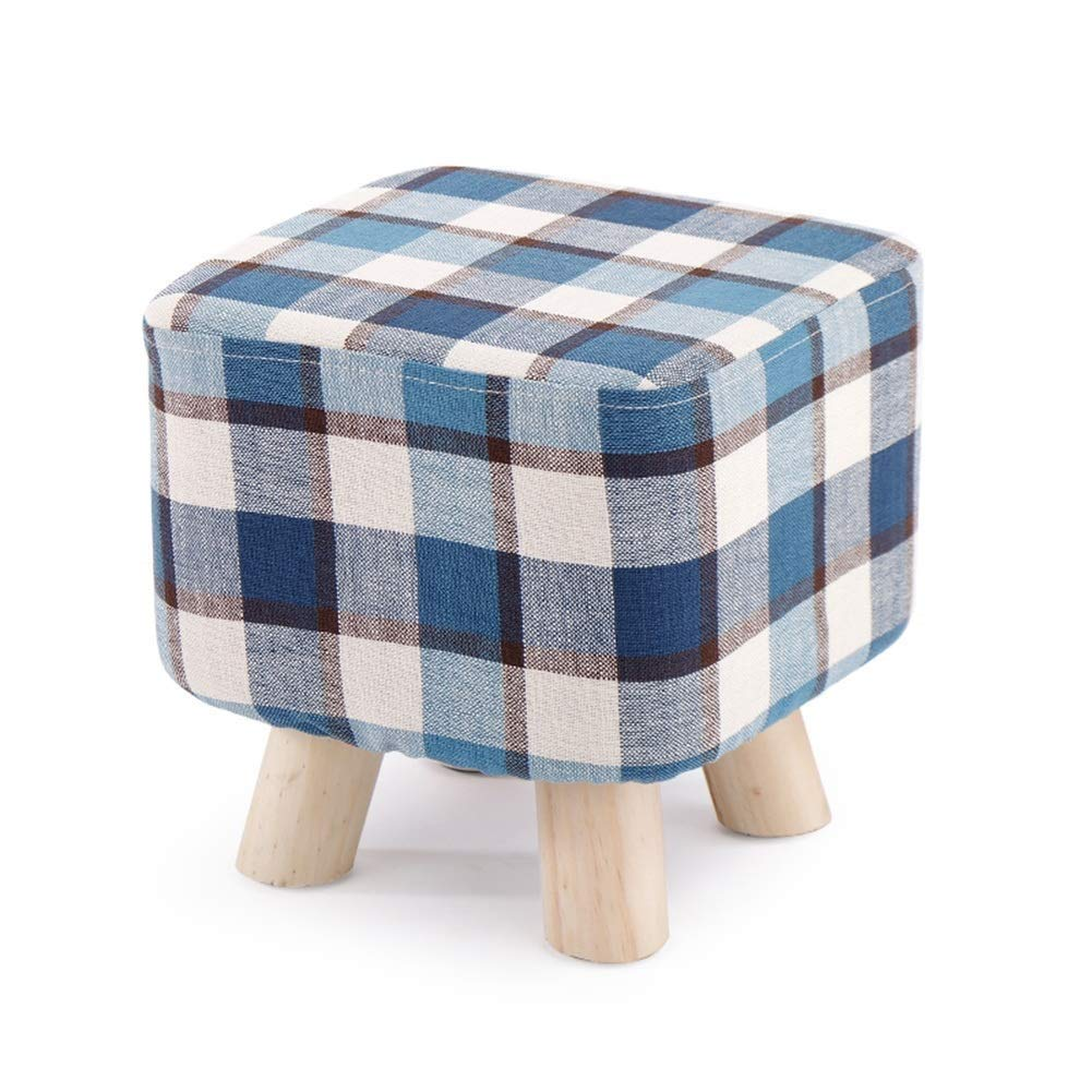 C Footstool Stool, Solid Wood Home Stool Creative Living Room shoes Bench Fashion Adult Square Stool Fabric Sofa Stool Multifunctional Storage Footstool (color   A)