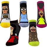 Ripple Junction Bob's Burgers Adult Unisex Large Characters 5-Pack Novelty Ankle Socks
