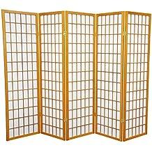 Oriental Furniture Good Short Size Room Divider, 5-Feet Window Pane Japanese Folding Privacy Screen, 5 Panel Honey