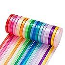 500 Yard Fabric Ribbon Satin Ribbon Rolls Silk Satin Roll, 25 Yard/Rolls, 20 Rolls, Satin Ribbon for Gift Package Wrapping Ribbon Bow Making Crafts Sewing Party Wedding, 2/5 Inch Wide