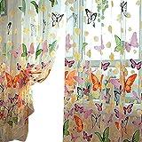 Forart 95x200cm Window Screening Curtain Drape with Flower Pattern for Bay Window Bathroom Shower Room Bedroom.