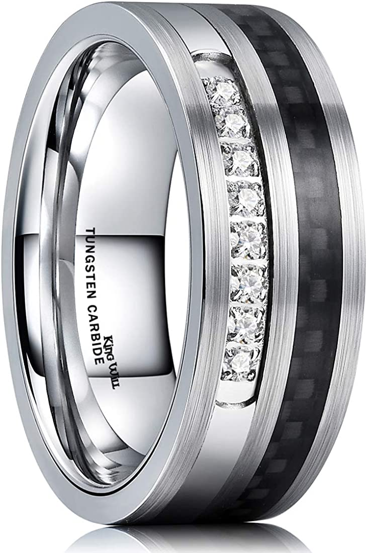 King Will 8mm Tungsten Carbide Wedding Ring Black Carbon Fiber & Cubic Zircon Inlaid Flat Style Comfort Fit