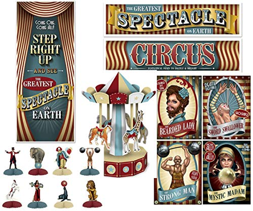 Vintage Carnival Party Decorations- Banner, Cutouts, Carousel Centerpiece, Door Cover