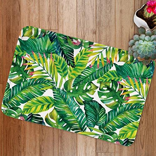 Banan Leaf Bath Mats by Goodbath, Tropical Palm Tree Leaves Non Slip Bath Rugs Absorbent Bathroom Rugs Kitchen Floor Mat Carpet, 20 x 31 Inch, Green White