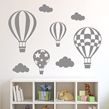 Decowalldwg 602 3ghot air balloons graphic stickers grey