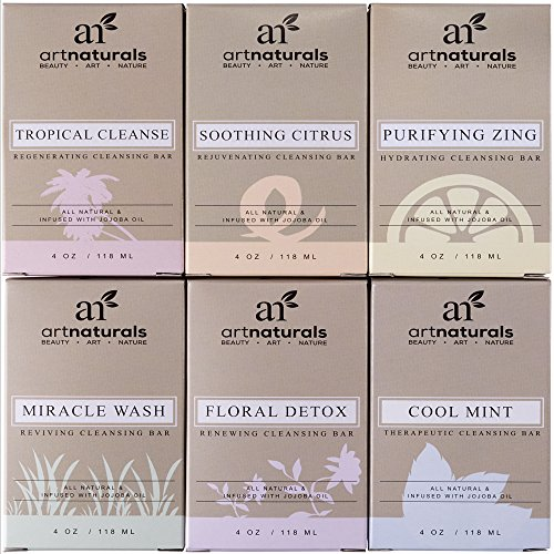Price comparison product image ArtNaturals 6 Piece Soap Bar Set, 100% Natural and Infused with Jojoba Oil, Best for All Skin Types, Body and Face, Men and Women, Tea Tree/Lavender/Eucalyptus/Lemon/Grapefruit/Orange, 4 oz. Each