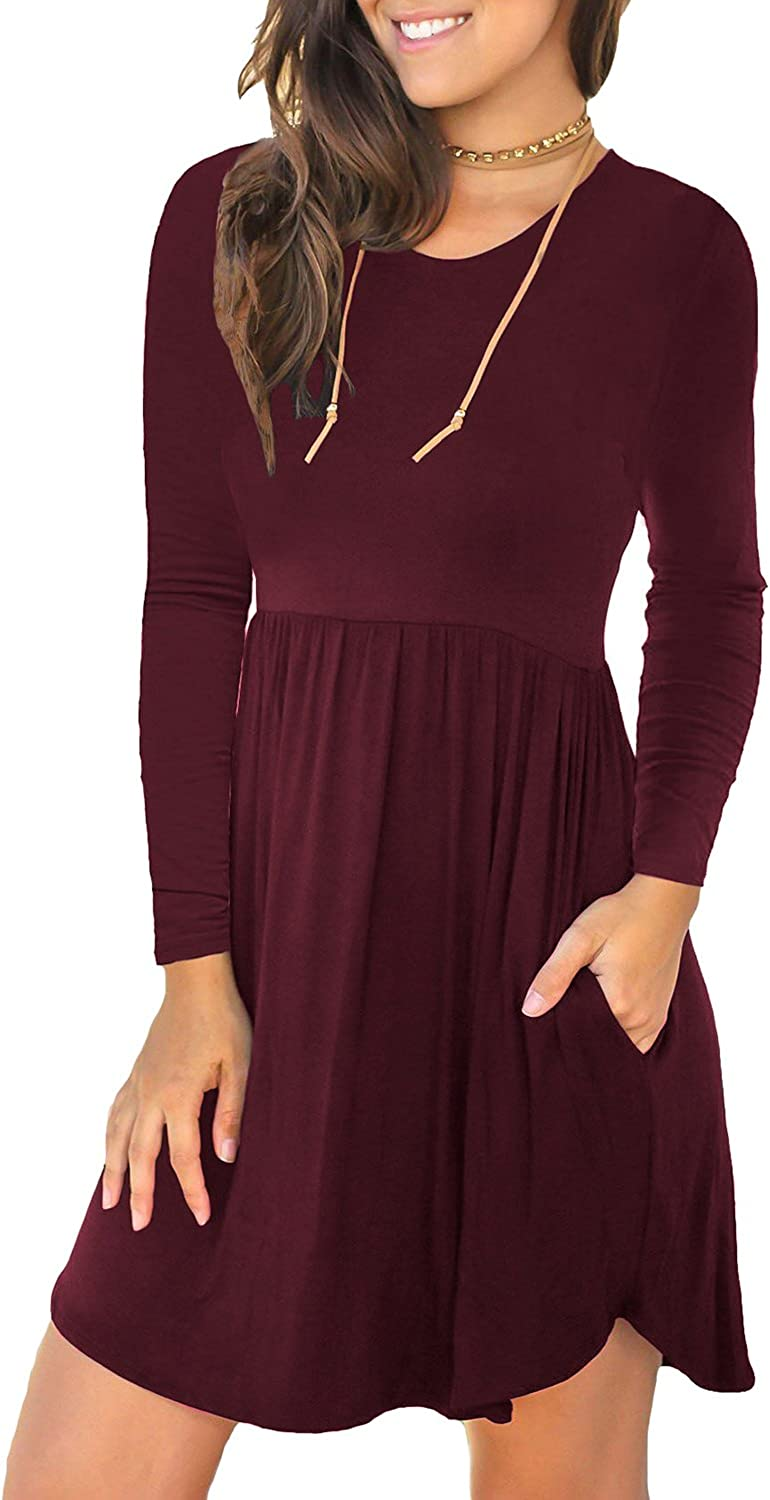 LONGYUAN Women's Long Sleeve Casual T Shirt Dresses Swing Dress with Pockets at  Women's Clothing store