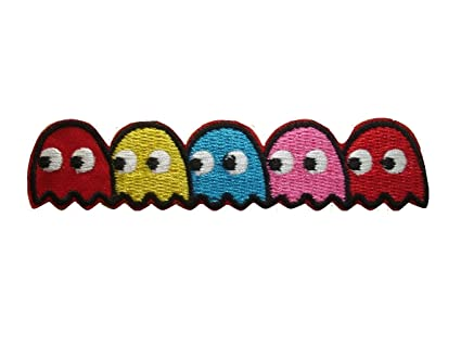 amazon com pac man ghosts blinky pinky inky clyde embroidered iron
