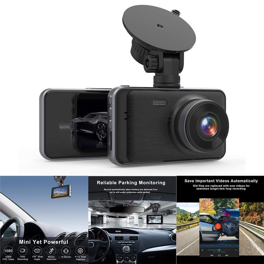 Kindsells 3 inch HD Driving Recorder Gravity Sensing 1080P HD Camera In-Visor Video Driving Recorders by Kindsells