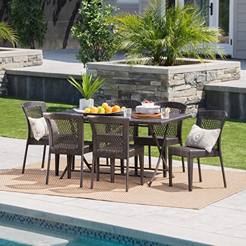 Paulina Outdoor 7 Piece Multibrown Wicker Dining Set with Foldable Table and Stacking Chairs