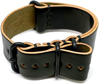 product image for DaLuca Shell Cordovan Military Watch Strap - Black (PVD Buckle) : 20mm
