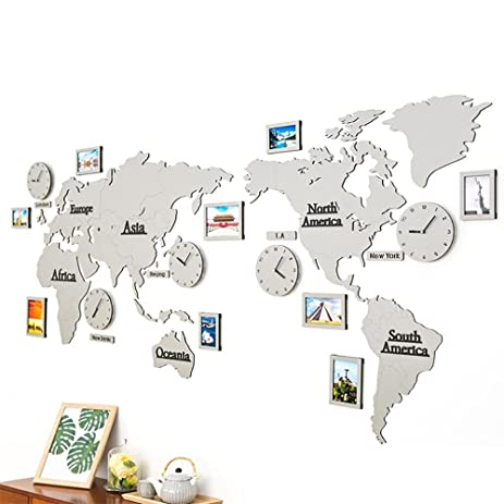 mcc 3d diy oversized size world map wall clock 5 country attached frame decoration grey