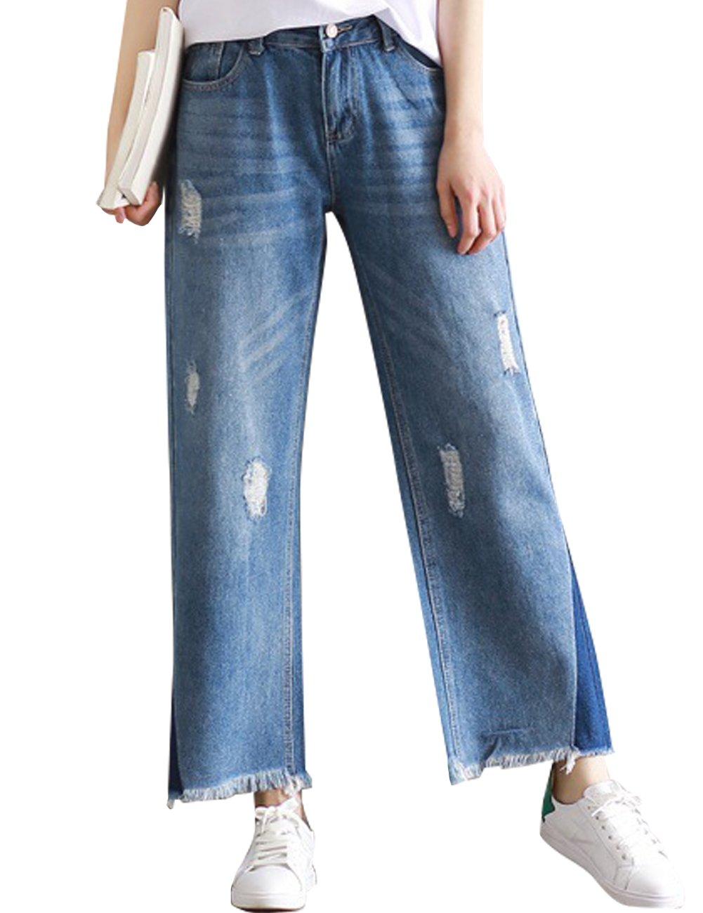 SUGIRLS Women's Casual High Waist Wide Leg Denim Cropped Jeans Pants Tassel Hem Light Blue S