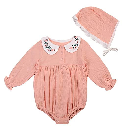 0f384ae9d70 Cute Baby Girl Doll Collar Embroidery Ruffles Long Sleeve Romper Bodysuit  with Hat Outfit Fall Clothes