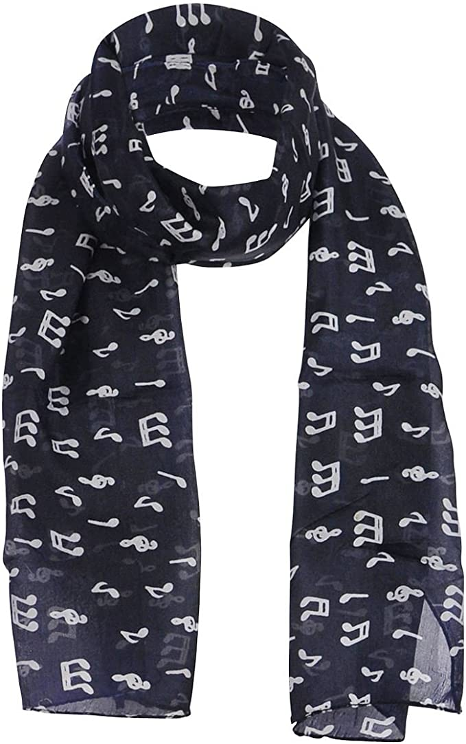 Foil music note scarf chiffon neck musical instrument printed Shawl Group Choir