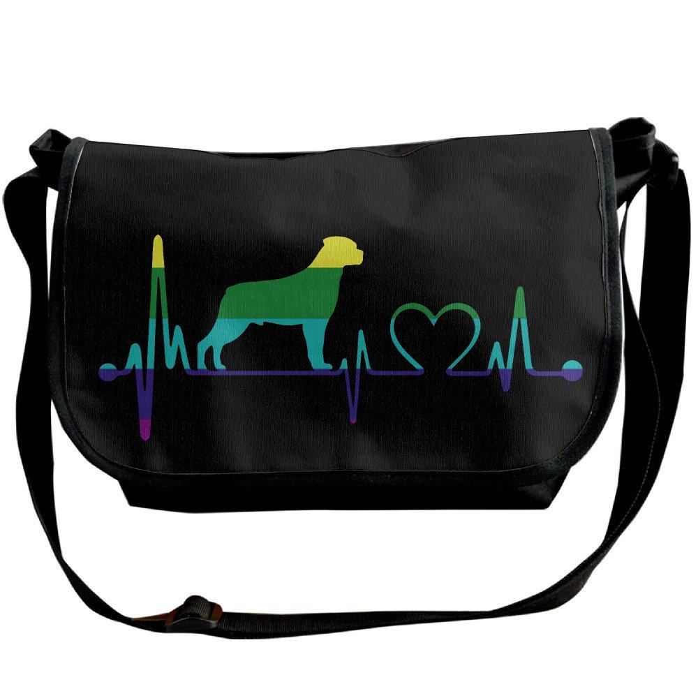 ハートビート犬レインボーカジュアルメッセンジャー学校ショルダーバッグ旅行クロスボディバッグユニセックススリングバッグ One Size ブラック B073B21DHF