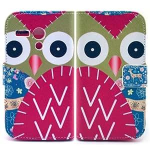 Bfun Packing Cartoon Owl Flower wallet Leather TPU Cover Case for Motorola Moto G