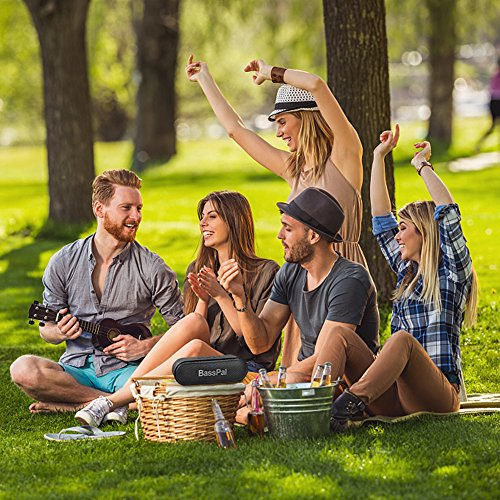 BassPal SoundRo Portable Bluetooth Speaker, 12W Wireless Speaker Lound Stereo Sound, Rich Bass, TF Card Slot, 24-Hour Playtime, 66 ft Bluetooth Range & Built-in Mic Outdoor Home Party Travel Speakers by BassPal (Image #7)