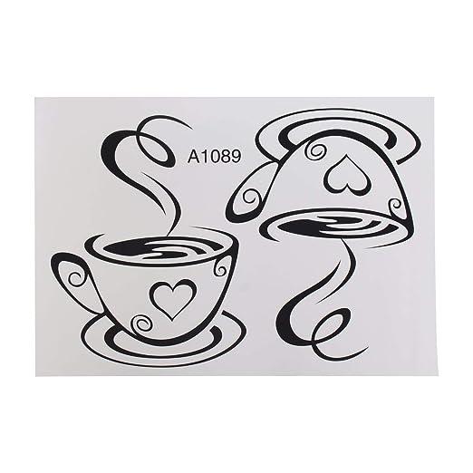 Heaviesk Tazas de café Par de Tazas de café Pegatinas de Pared ...