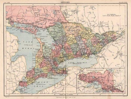 ONTARIO/GREAT LAKES: Showing counties. Lake Huron Erie Ontario, 1898 old map