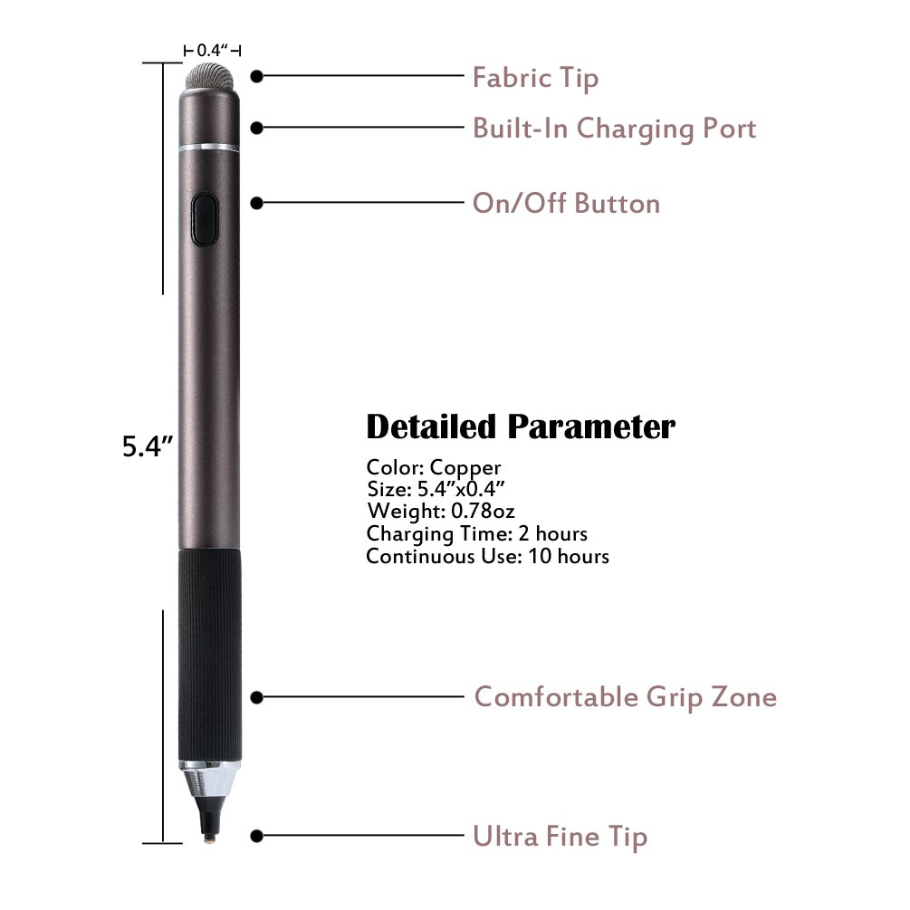 Active Stylus Pen, TEOYALL Rechargeable 1.8mm Fine Point Copper Tip Capacitive Digital Stylus Pen for iPhone, iPad pro, Samsung, Tablets, Android and other Capacitive Touch Screen Devices (Bronze) by TEOYALL (Image #6)