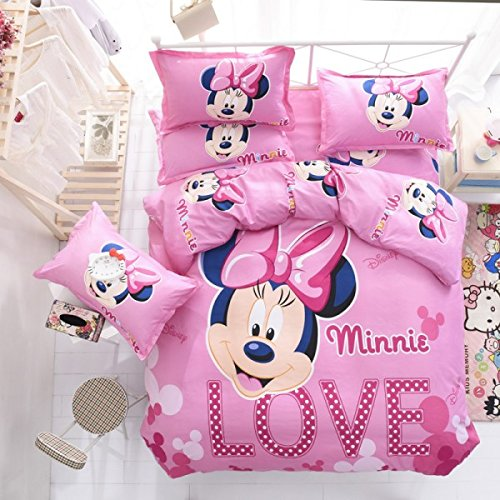 s Pink Minnie Mouse Duvet Cover Queen Set, Girly Cute Disney Bedding Black Mini Pretty Mickey Mouse Themed Polka Dot Love Pattern Adorable Children Cartoon, Polyester (Minnie Mouse Cover)