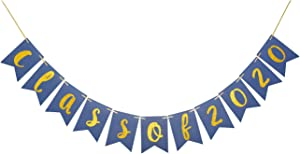 Class of 2020 Glitter Banner, Graduation Sign, Congrats Grad Party Decorations Congratulations Assembled Photo Backdrop Supplies (Gold & Blue)
