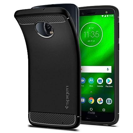 innovative design 50272 ff5a5 Moto G6 Plus Case Spigen Rugged Armor - Flexible and Durable Shock  Absorption with Carbon Fiber Design for Motorola G6 Plus (2018) - Black