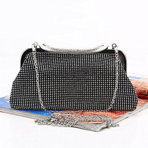 For Rabbit Women Prom Large Bag Black Clutch Crystal Suitable Cocktail Purse Evening Lovely Clutches Rhinestone Color Party Silver SAPnqRq