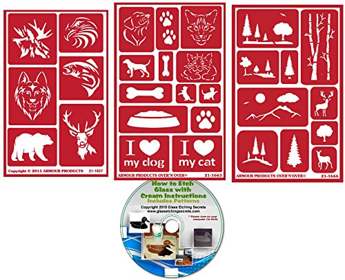 Wild Animal Stencils (Wild & Domesticated Animal Stencils (3) Pack , Over N Over Reusable + How to Etch CD)