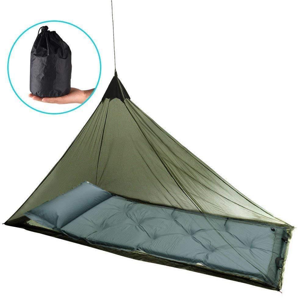 Eklead Moustiquaire - Moustiquaire extérieure pour Lit de Camping Simple, 250 Trous par Pouce carré, compacte et légère pour Le Camping de Voyage avec 4 Chevilles et 1 Sac de Transport