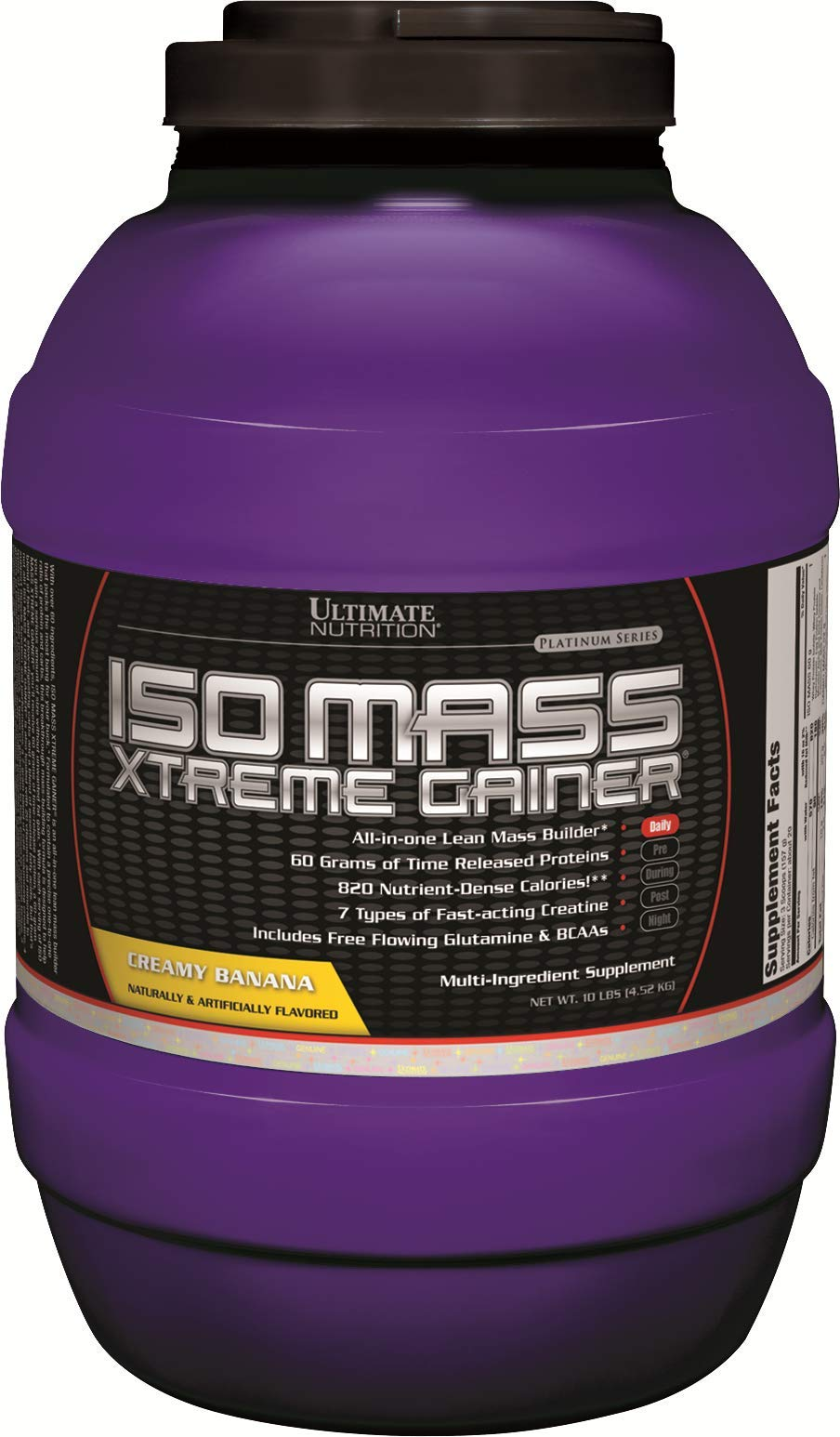 Ultimate Nutrition Iso Mass Xtreme Gainer Serious Weight and Lean Muscle Mass Protein Powder, Banana, 30 Servings