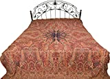 Rosewood Reversible Jamawar Bedspread with Woven Paisleys - Pure Cotton Wool