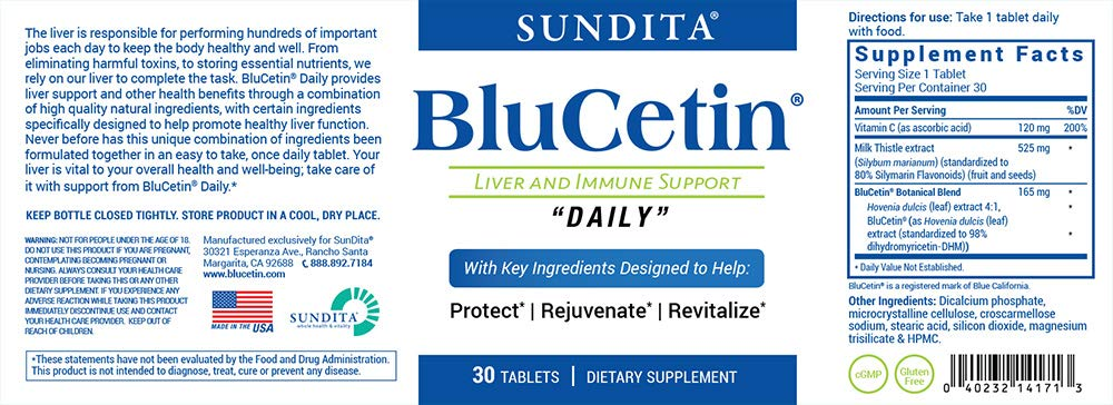 BluCetin Liver Health & Immune Support Formula - Combo Health Pack (98%-Pure DHM, Milk Thistle, Electrolytes, Antioxidants, Nutrients) w/New 'Quick-Melt' Technology- 100% Money Back Guarantee by BluCetin (Image #2)