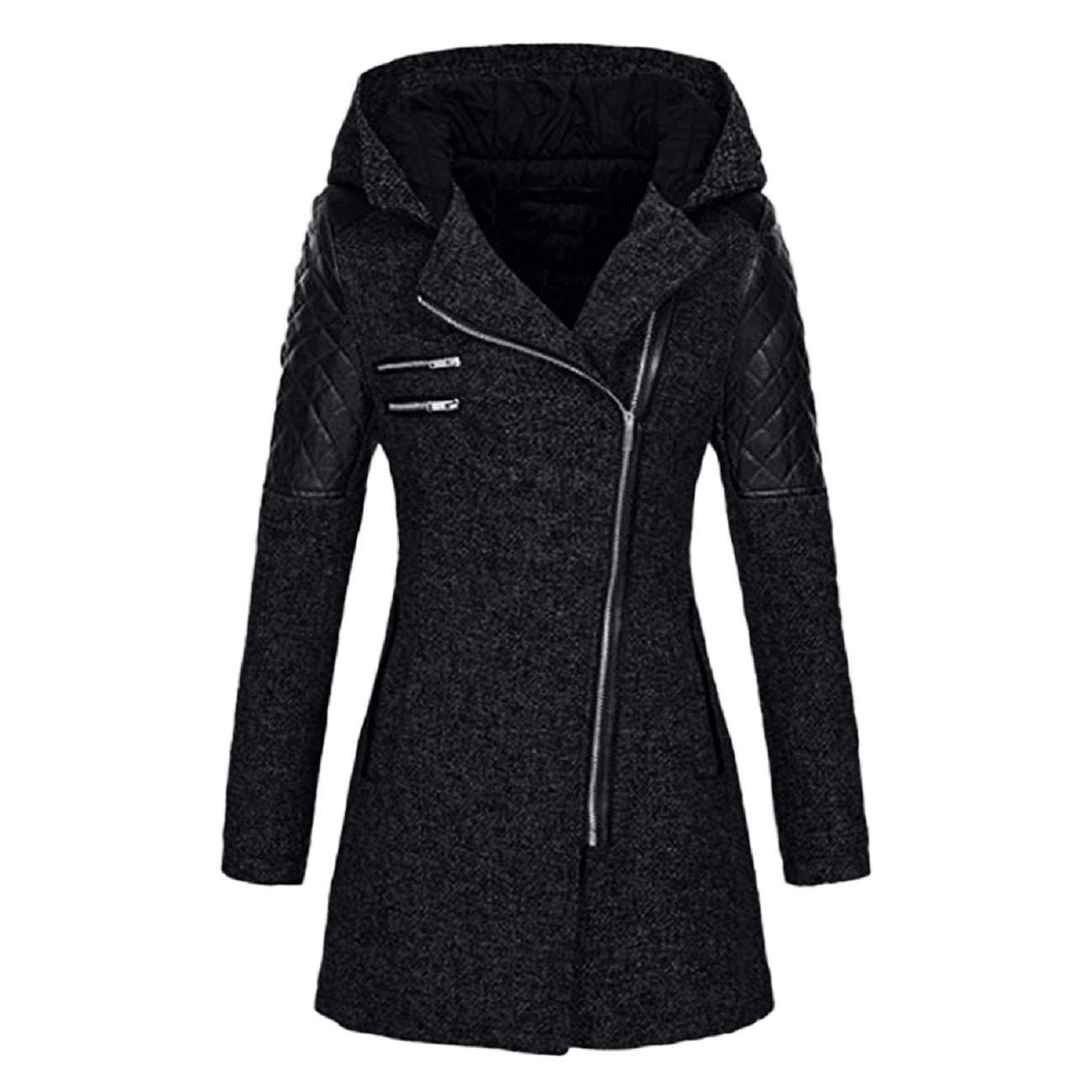 Adreamess Women Coat Winter Warm Slim Jacket Thick Parka Overcoat Winter Outwear Hooded Zipper Outwear Black by Adreamess