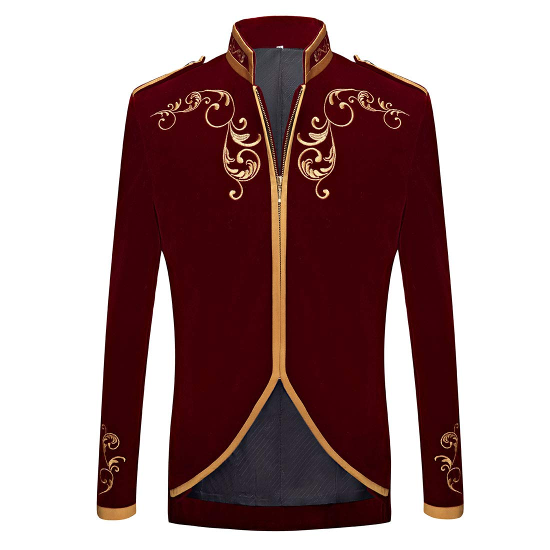 PYJTRL Mens Stylish Court Prince Black Velvet Gold Embroidery Blazer Suit Jacket