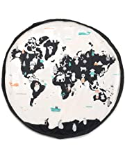 """Play Mat and Toy Storage Bag - Durable Floor Activity Organizer Mat - Large Drawstring Portable Container for Kids Toys, Books - 55"""", Worldmap"""