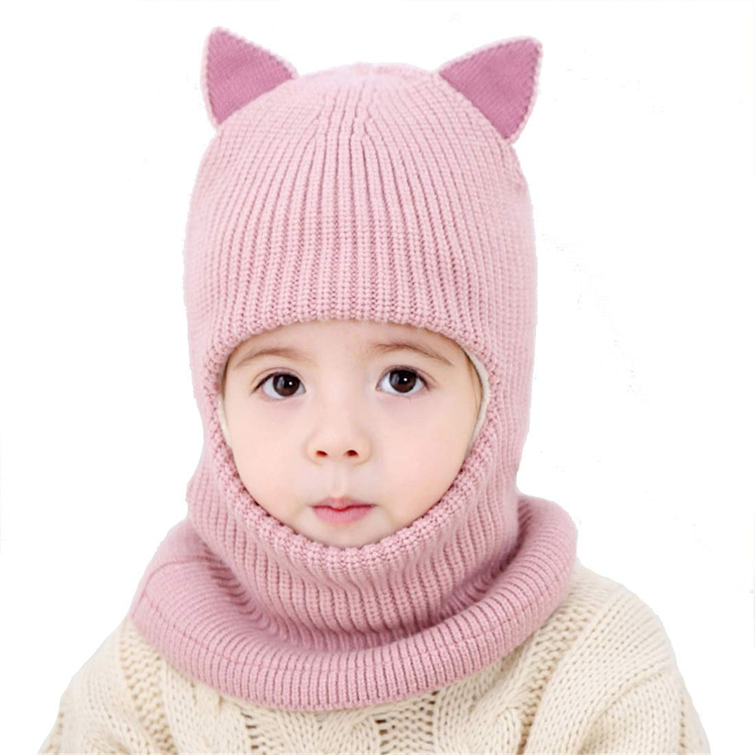 Rgslon Baby Girl's Warm Hat Scarf Kid Fleece Lined Earflap Caps Windproof Balacalva