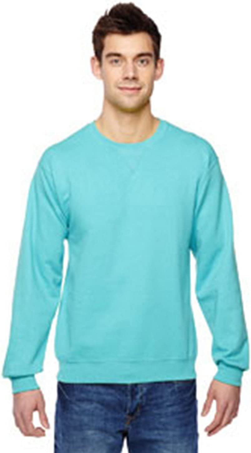 Fruit of the Loom mens 7.2 oz. Sofspun Crewneck Sweatshirt(SF72R)-SCUBA BLUE-L