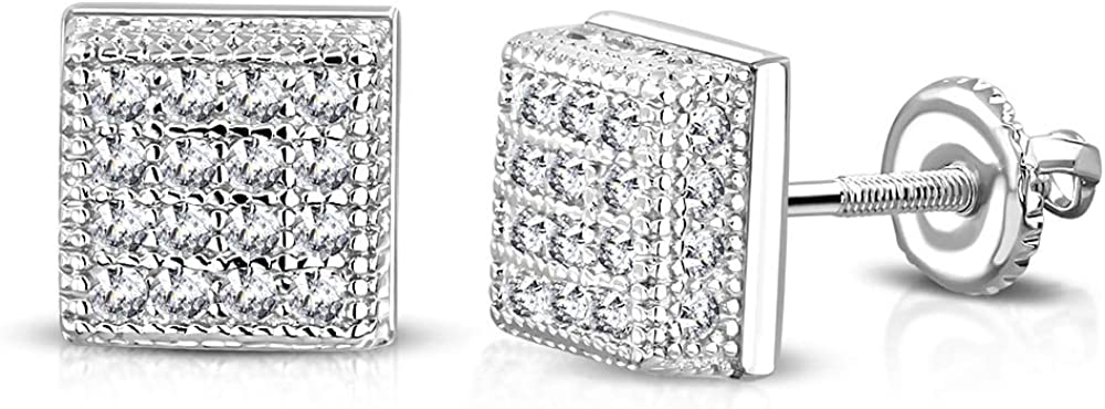 0.30 925 Sterling Silver Square White Clear CZ Screw Back Stud Earrings