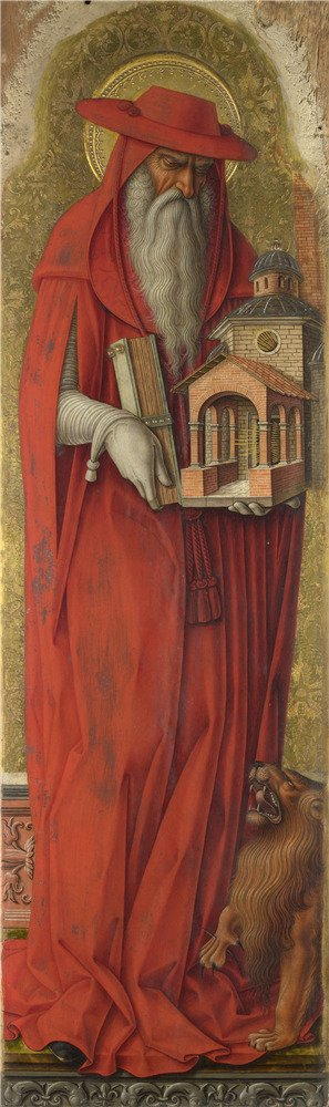 Oil Painting 'Carlo Crivelli - Saint Jerome,about 1476', 30 x 101 inch / 76 x 257 cm , on High Definition HD canvas prints is for Gifts And Gym, Home Office And Kids Room Decoration, sale