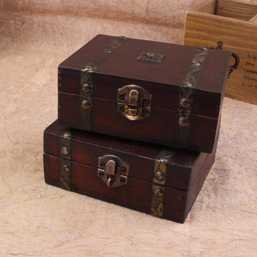 Destinely Caja de Madera de Hierro Vintage, Recuerdo de Cofre del Tesoro y joyero de Madera, Caja de Madera de Cofre del Tesoro con Cerradura de Hierro Antiguo y Llave Maestra