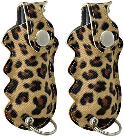 Pepper Defense Pack of 2 Leopard Print Grip Holster Pepper Spray – 10 OC, UV Dye, Belt Clip, Key Chain – Max Strength Police Grade – Emergency Non Lethal Weapon for Personal Safety and Protection