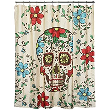 Floral Sugar Skull Fabric Shower Curtain Mildew Resistant And Waterproof Polyester Bathroom With 12 Steel Rings 72x72 Inch