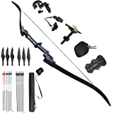 D&Q Archery Takedown Recurve Bow and Arrow Set for Outdoor Hunting Practice Shooting Competition Draw Weight 30 35 40 45 50 55 60 Lbs Aluminum Alloy Riser Right Hand Black