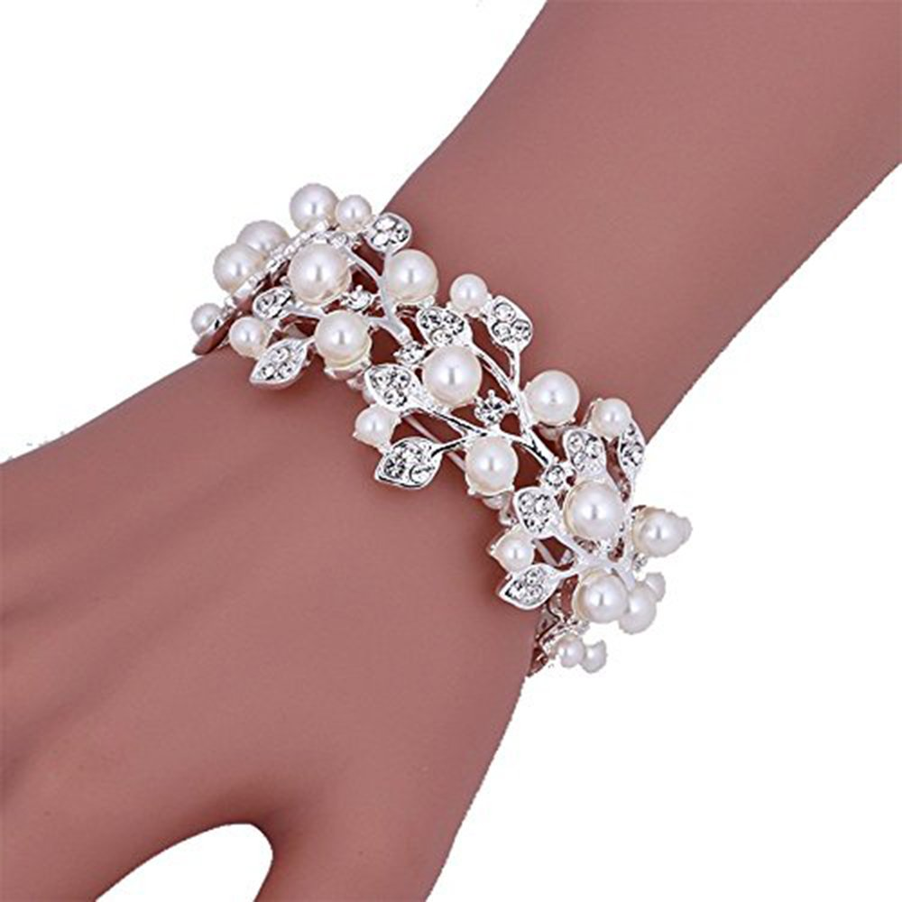 Sunshinesmile Bridal Wedding Jewelry Crystal Rhinestone Pearl Leaf Stretch Bracelet Silver