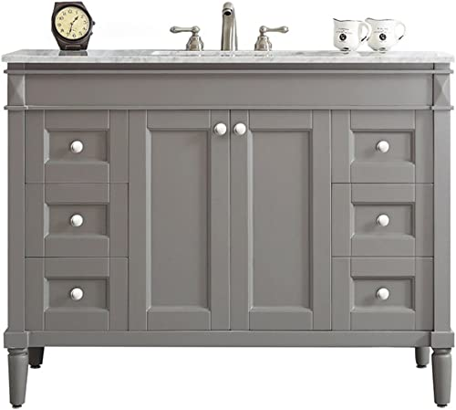 Vinnova 715048-GR-CA-NM Catania 48 Vanity in Grey with Carrara White Marble Countertop without Mirror